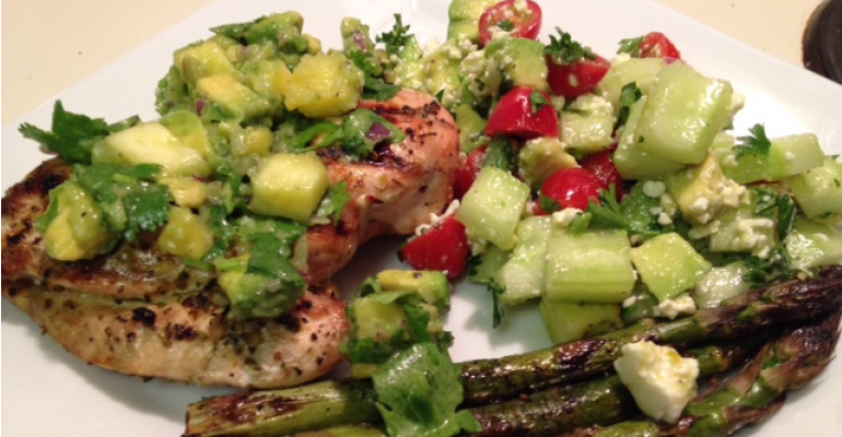 Grilled Chicken with Pineapple & Avocado Salsa and Tomato, Cucumber & Avocado Salad
